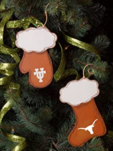 The Round Top Collection Texas Longhorns Stocking and Mitten Christmas Tree Ornament