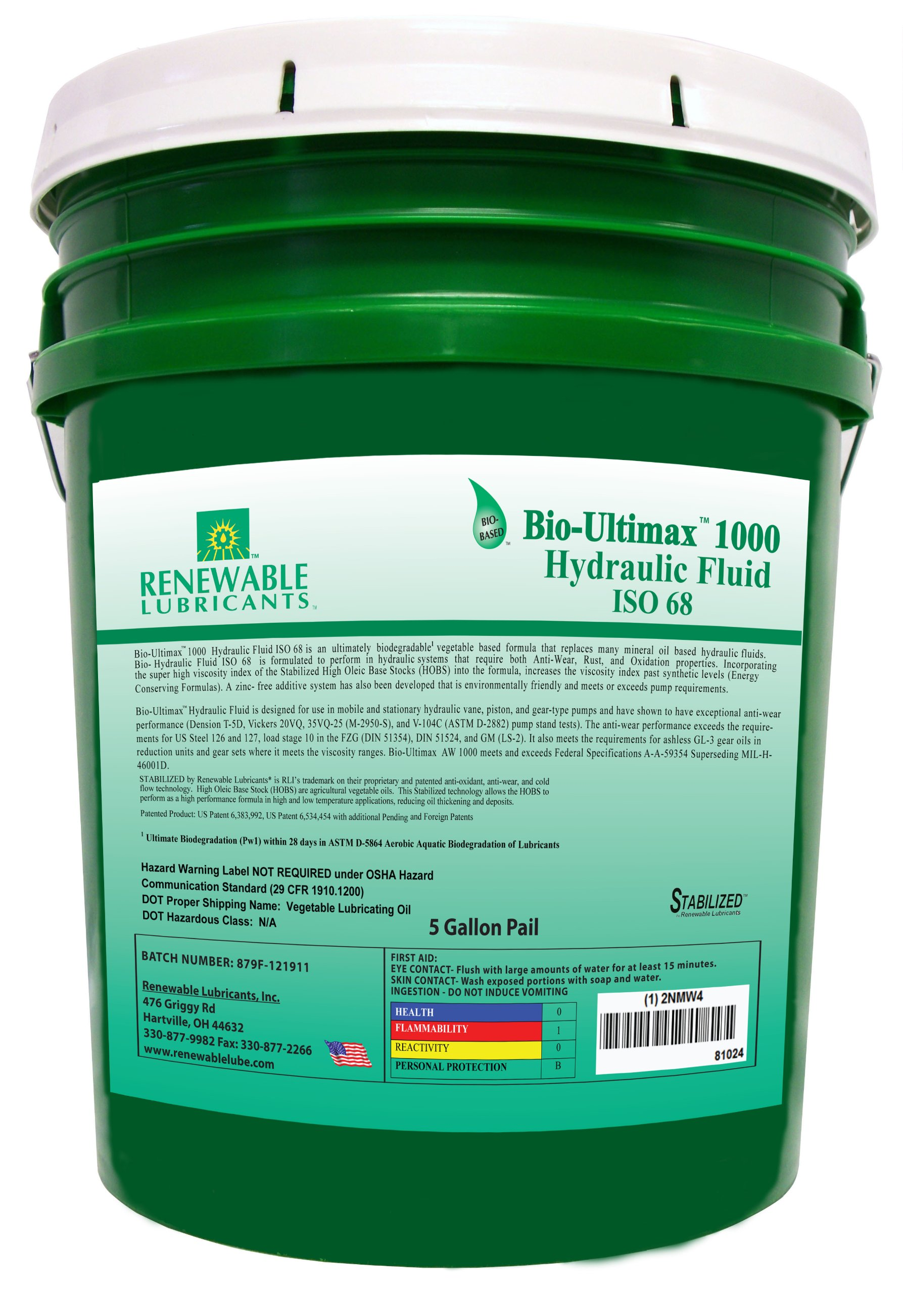 Renewable Lubricants Bio-Ultimax 1000 ISO 68 Hydraulic Lubricant, 5 Gallon Pail