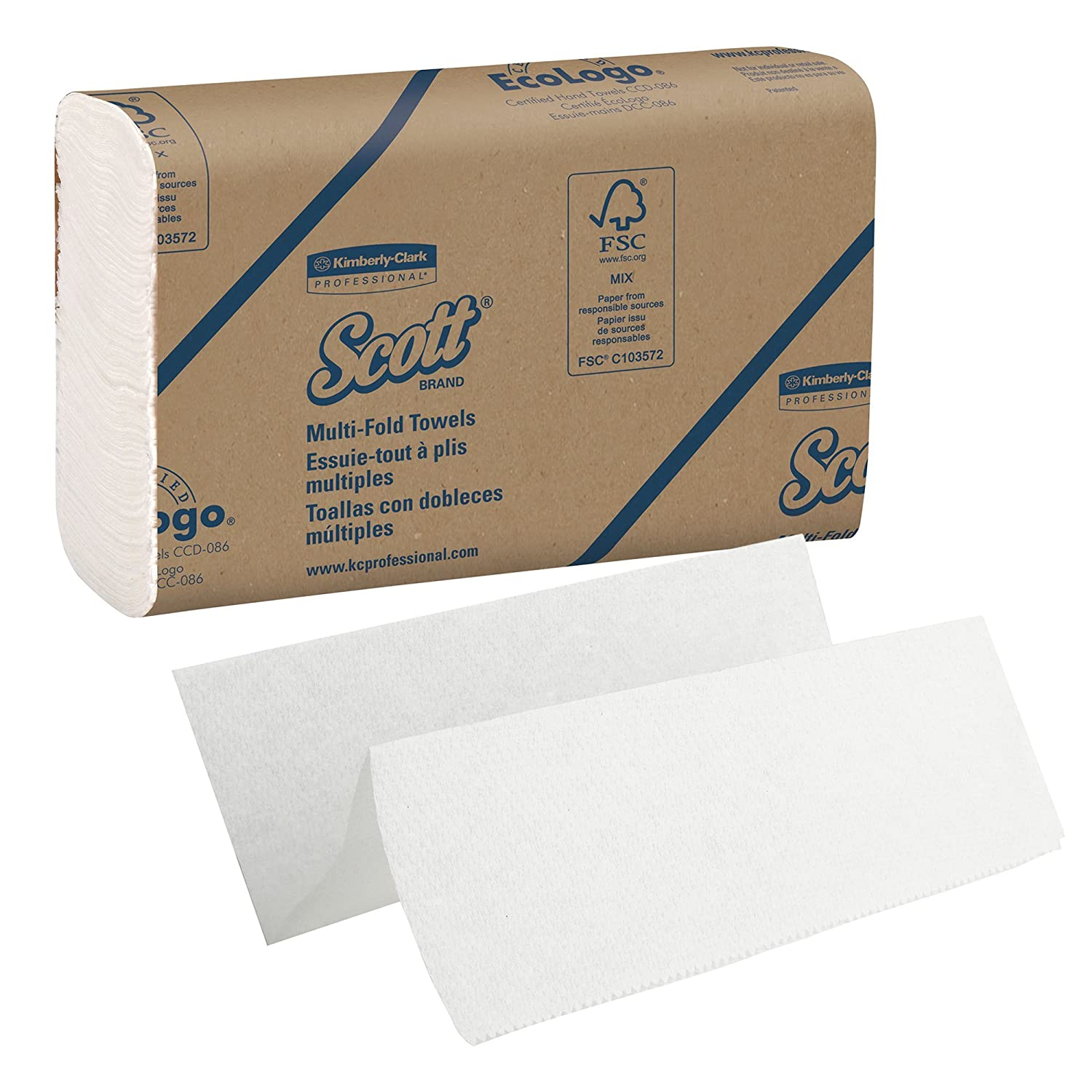 Amazon.com: Scott 03650 Multi-Fold Towels, Absorbency Pockets, 9 2/5 x 9 1/5, White, 250 Sheets Per Pack (Case of 12 Packs), 2 Case: Health & Personal Care
