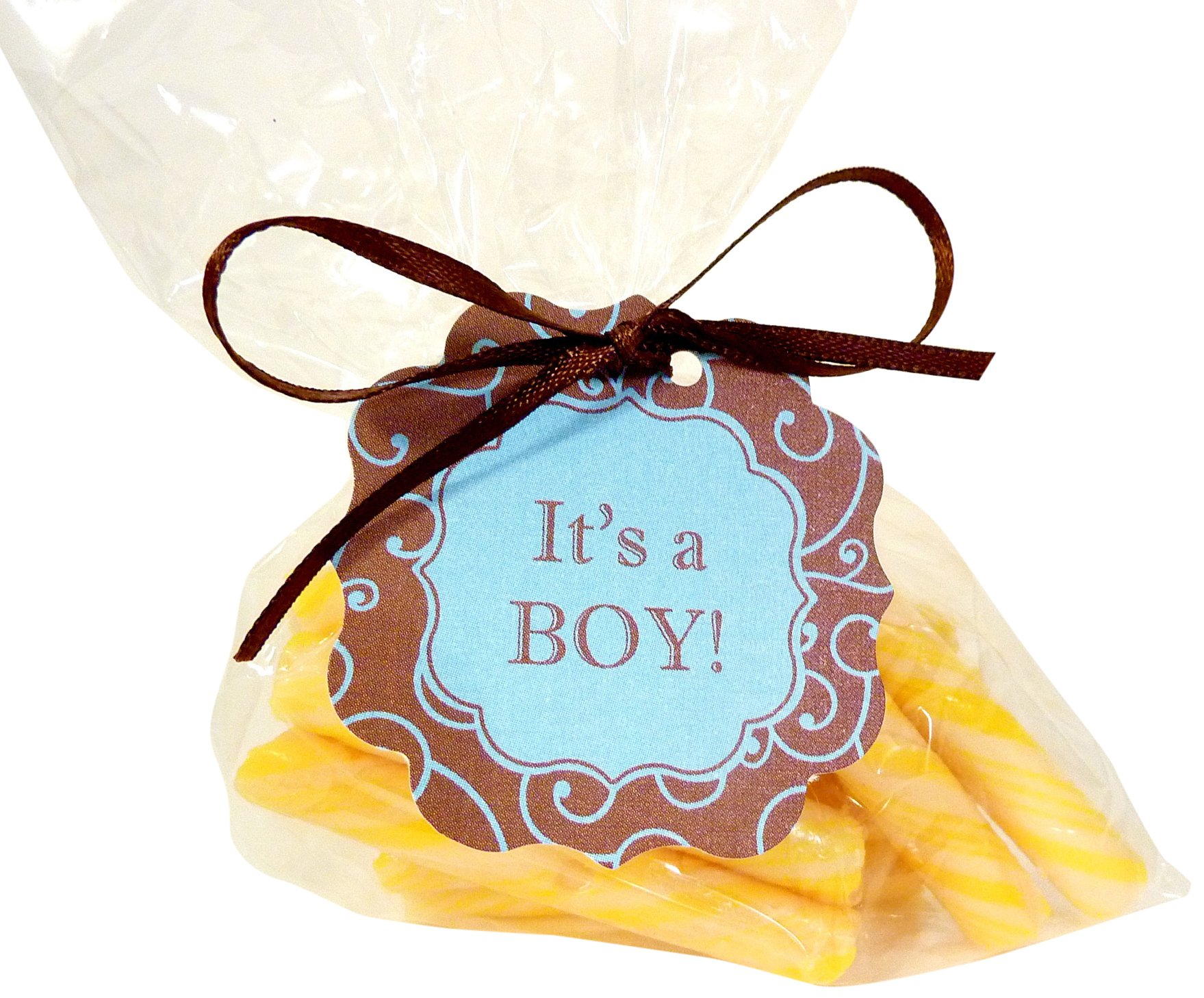 Bella Cupcake Couture 8-Pack ''It's a Boy'' Olivia Swirl Hang Tags, Blue and Brown