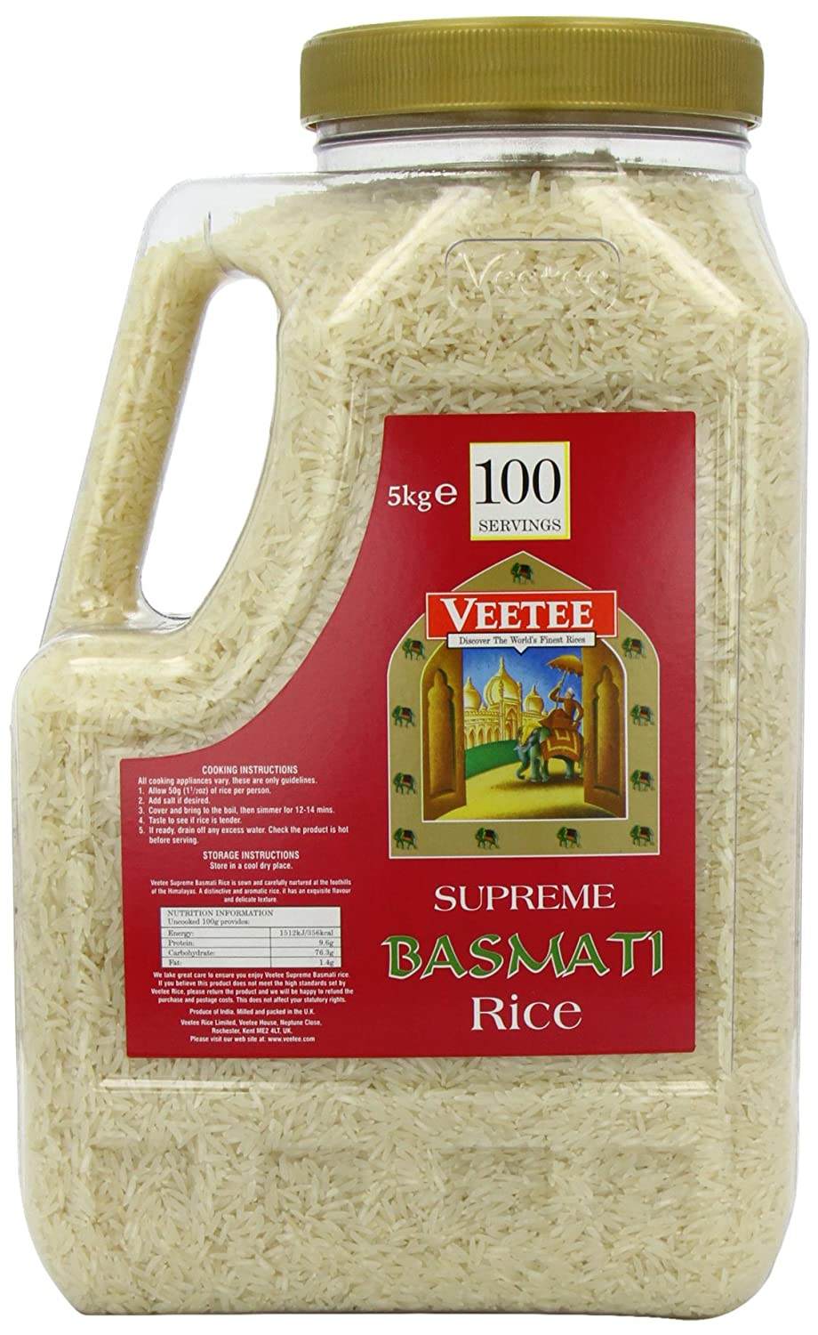 Veetee Supreme Basmati Rice 5 kg Jar: Amazon.es ...