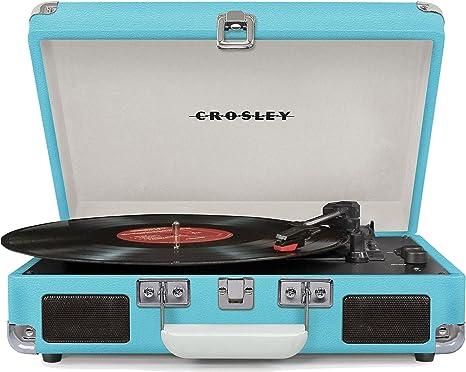 Crosley Cruiser Deluxe Vintage 3-Speed Bluetooth Suitcase Turntable, Turquoise