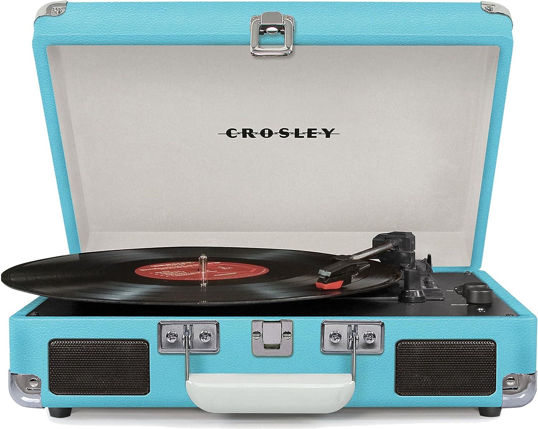 Crosley Cruiser Deluxe Tocadiscos Estilo Maletín de Tres Velocidades con Altavoces Estéreo Incorporados, color Turquesa