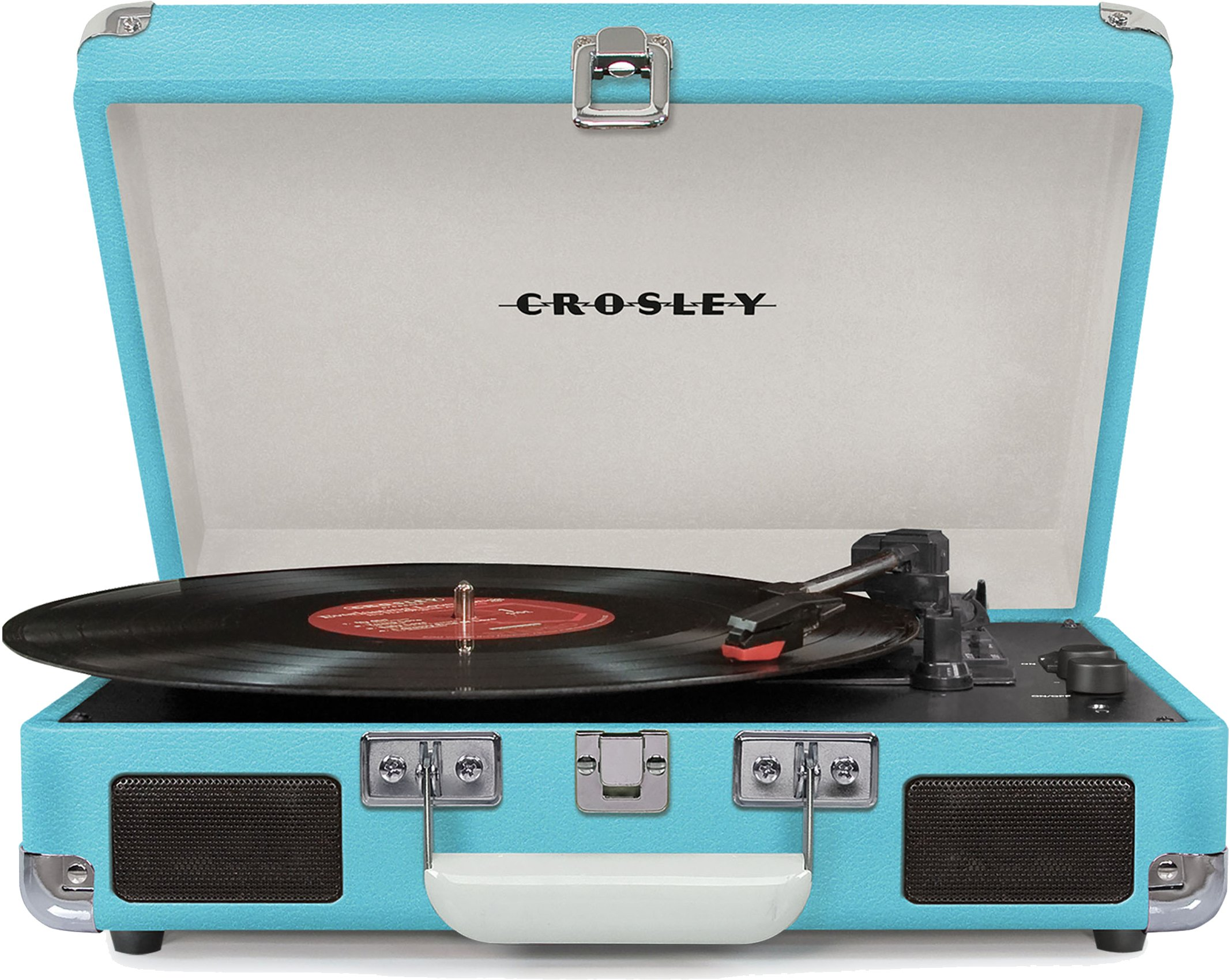 Crosley Cruiser Deluxe Vintage 3-Speed Bluetooth Suitcase Turntable, Turquoise by Crosley