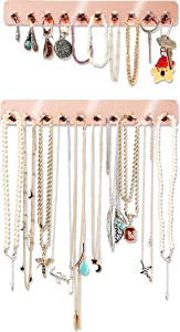 "Boxy Concepts Necklace Holder - Easy-Install 10.5""x1.5"" Jewelry Organizer Wall Mount with 10 Hooks - Beautiful Jewelry Hanger for Necklaces, Bracelets and Earrings - Rose Gold Necklace Hanger (2 Pack)"