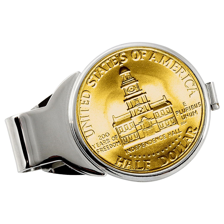 Gold-Layered JFK Bicentennial Half Dollar Silvertone Coin Money Clip