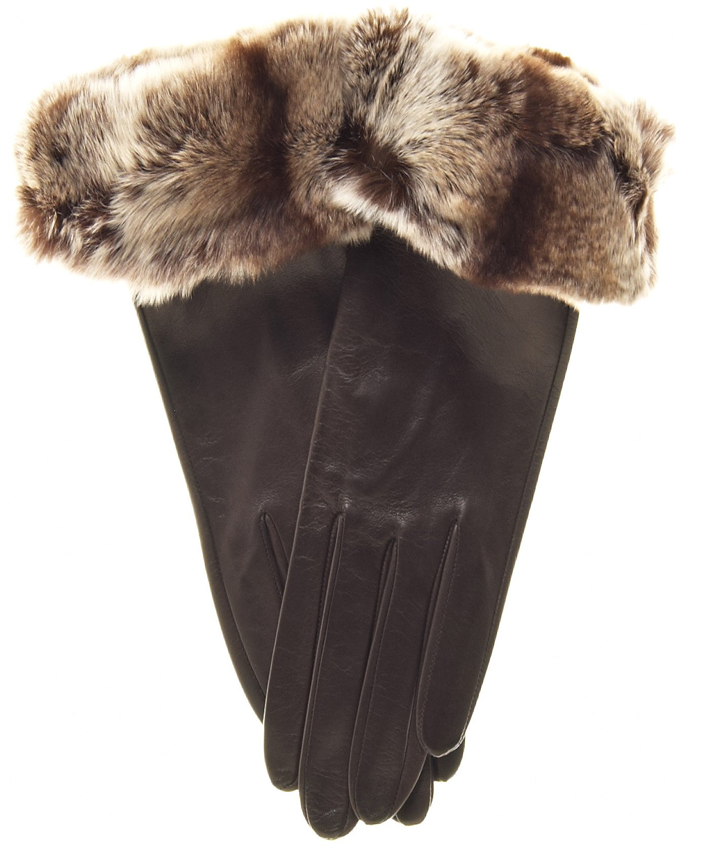 Fratelli Orsini Women's Orylag Rabbit Fur Cuff Cashmere Lined Leather Gloves Size 8 1/2 Color Brown