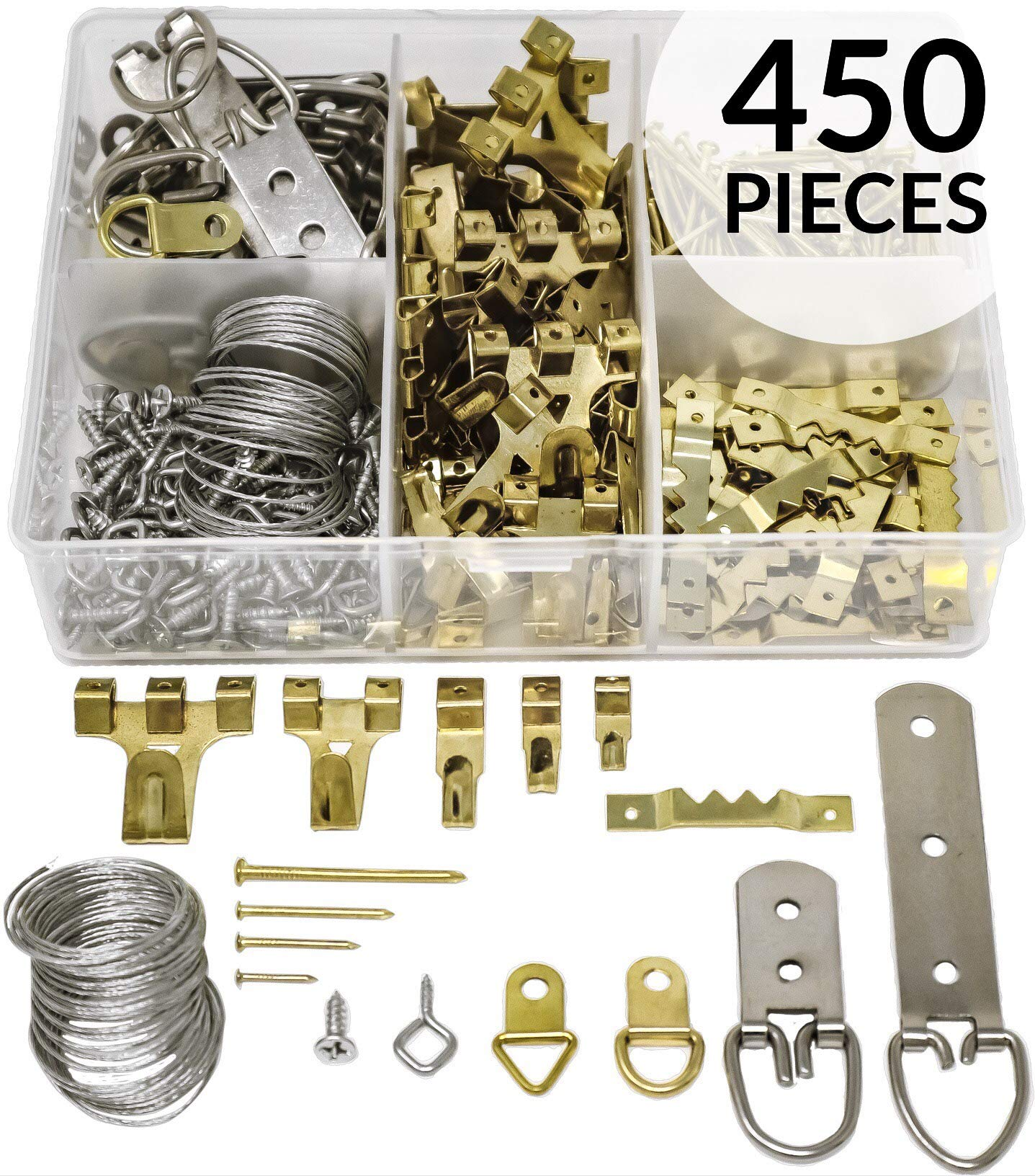 Picture Hanging Kit 450 Pieces   Hardware for Frames Heavy Duty   Great Assortment Includes: Screws, Nails, D Rings, Hooks, Wires, Sawtooth Hangers, Heavy Duty Hooks   Comes with Transparent Solid Box