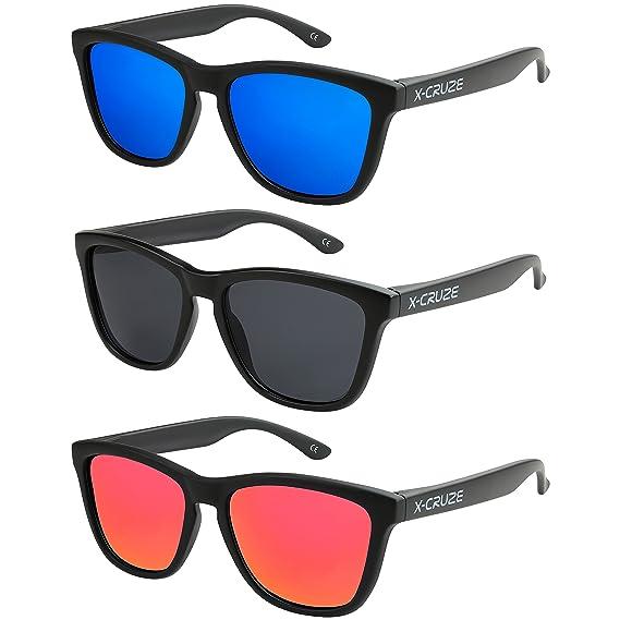 X-CRUZE® - Lot de 3 paires de lunettes de soleil unisexe, femmes, hommes - Style Nerd, Rétro, Vintage - Noir - Set A -