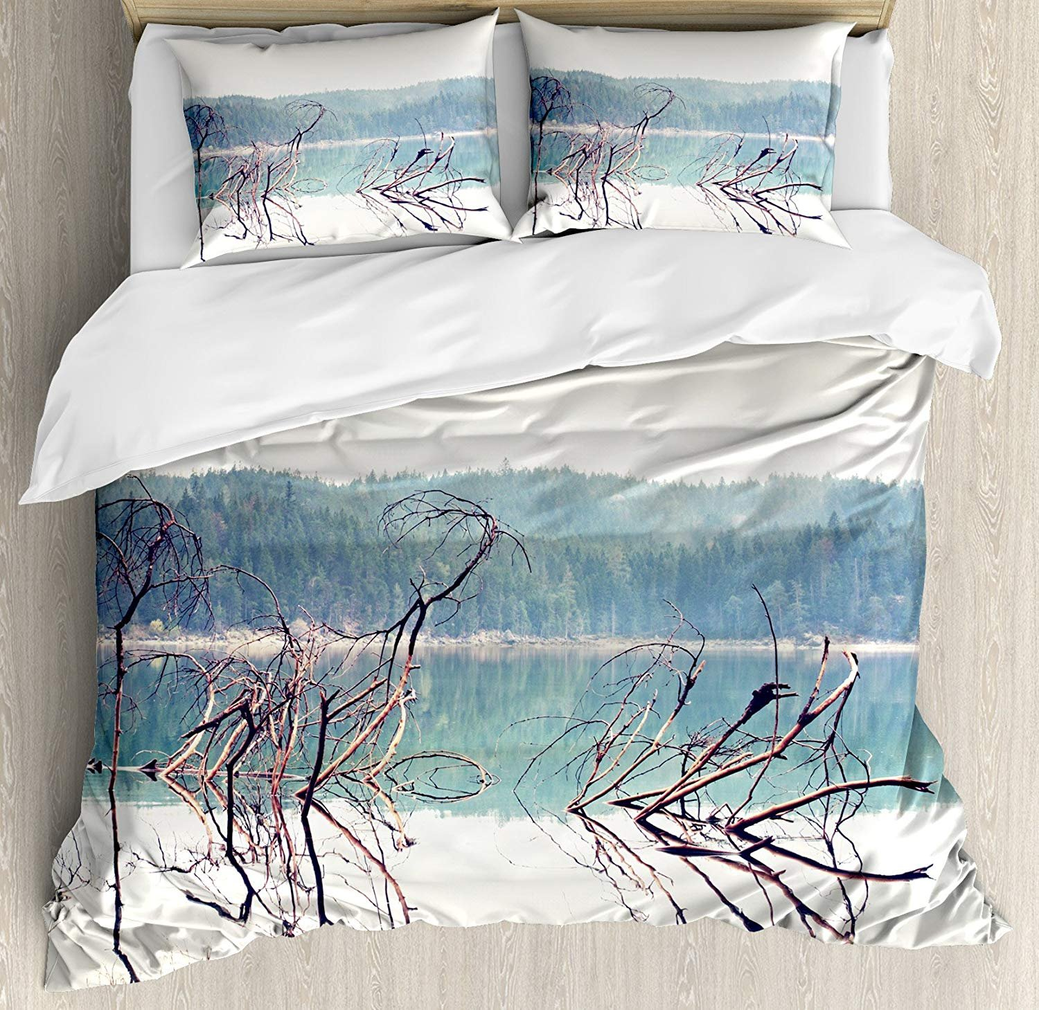 Driftwood Bedding Sets, Nature Theme Branch of the Fallen Tree near the Mountain Lake and the Forest, 4 Piece Duvet Cover Set Quilt Bedspread for Childrens/Kids/Teens/Adults, Cream Green,Twin Size