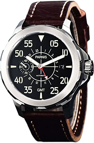 PARNIS 2153 GMT Deportivo de Hombre automático Reloj 44 mm Marca Reloj de Seagull Cristal de Zafiro Caja de Acero Inoxidable Pulsera de Piel 5 Bar ...