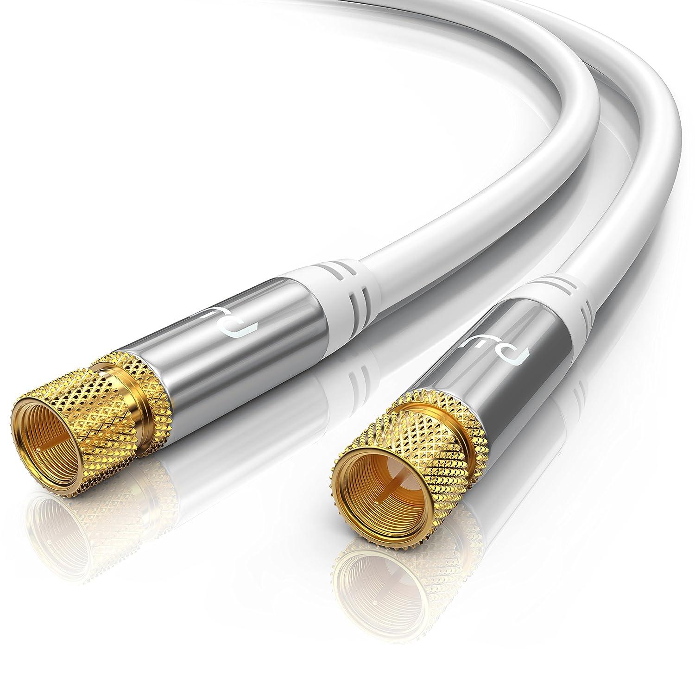 10,0m cable de antena / SAT | Premium cable HDTV / Full HD | cable coaxial | conector F a conector F | carcasa metálica / contactos dorados | blindaje ...