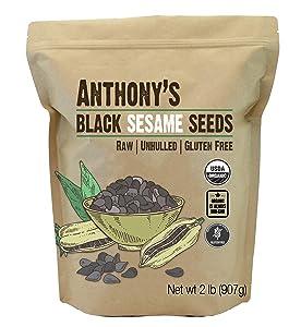 Anthony's Organic Black Sesame Seeds, 2 lb, Raw, Unhulled, Batch Tested & Verified Gluten Free, Keto Friendly