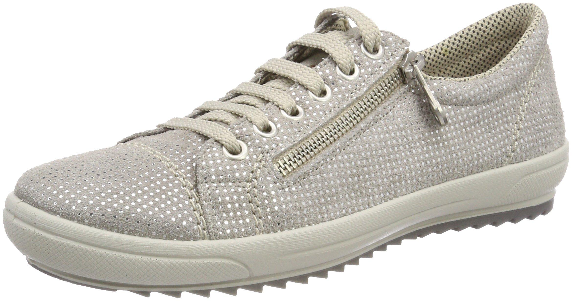 Rieker Women's Pale Gray Sparkling Leather Lace Up Fashion Sneaker UK 4 - EU 37 - US 6