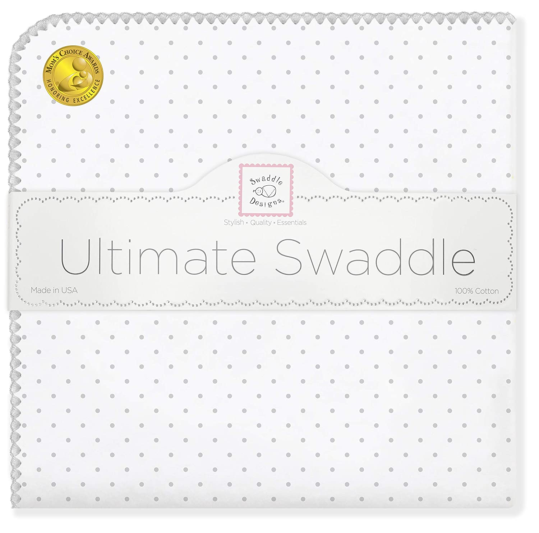 SwaddleDesigns Ultimatives Pucktuch, Premium Baumwollflannell, Punktmuster, Silberfarben SD-001ST