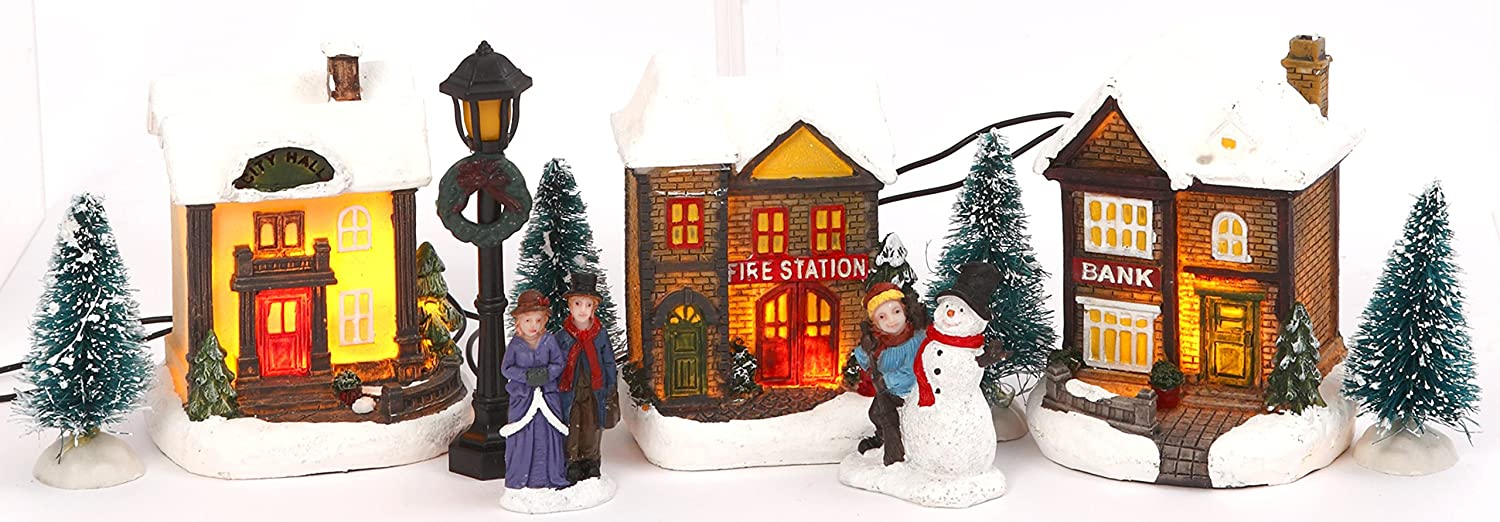 Miniature Christmas Village.Miniature Lighted 10 Piece Christmas Village Scenes Tabletop Holiday Decorations Fire Station