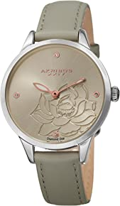 Akribos XXIV Women's Diamond Accented Flower Engraved Dial Leather Strap Watch - AK1047 - Packed in a Beautiful Gift Box, Perfect for Mothers Day -