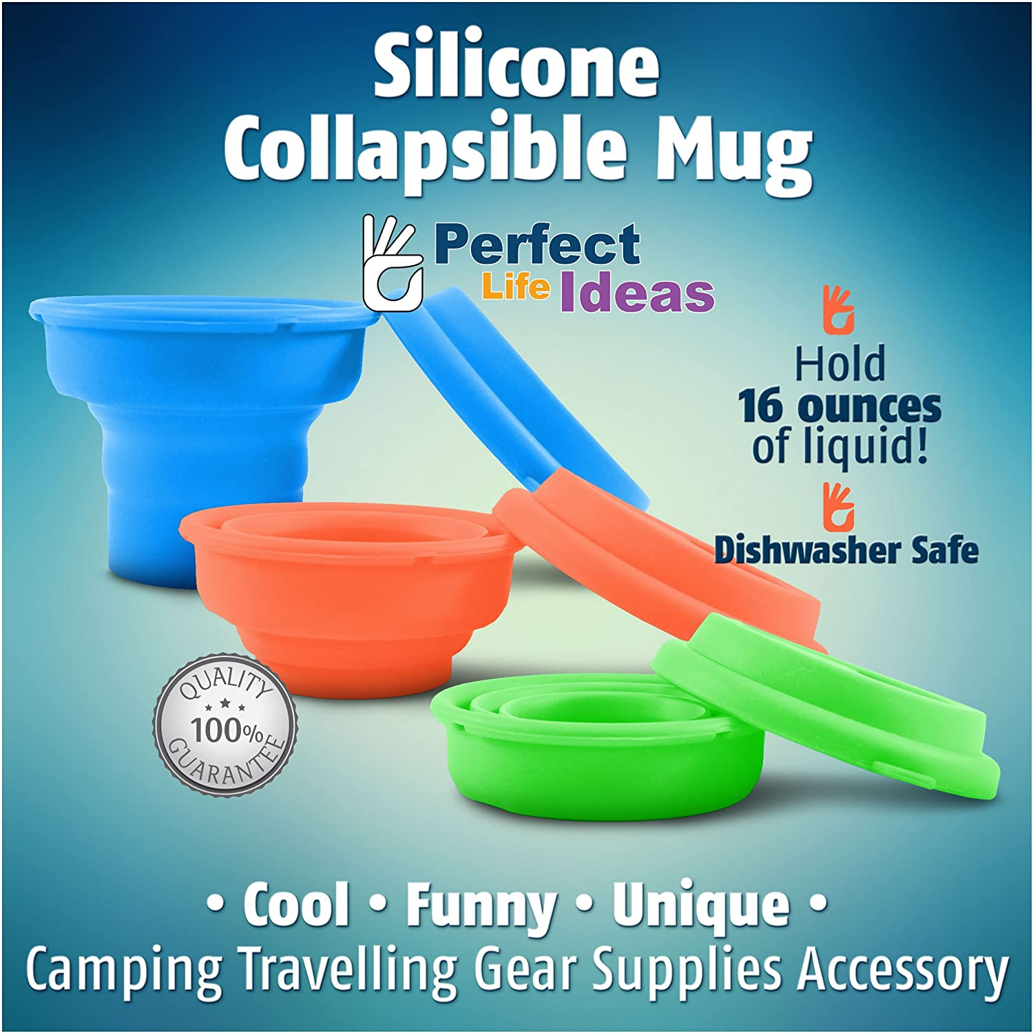 LevelOne Collapsible Travel Silicone Camping Cup 16oz BPA Free