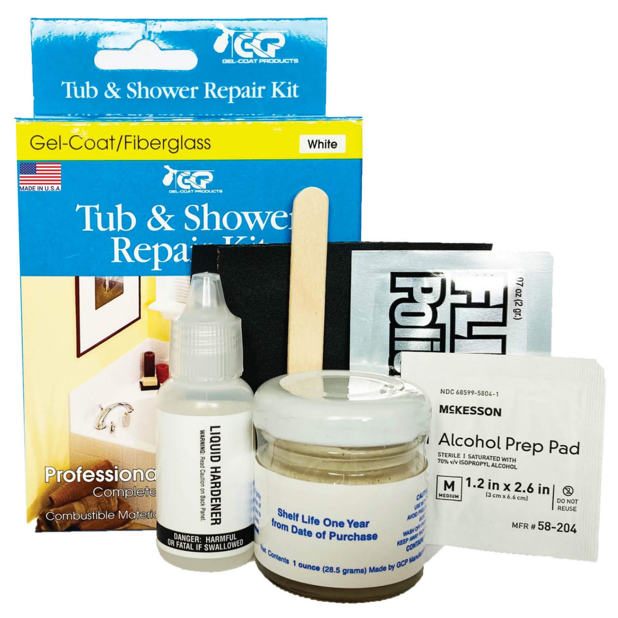Gelcoat Products 001 Tub and Shower Repair Kit Sealers, White