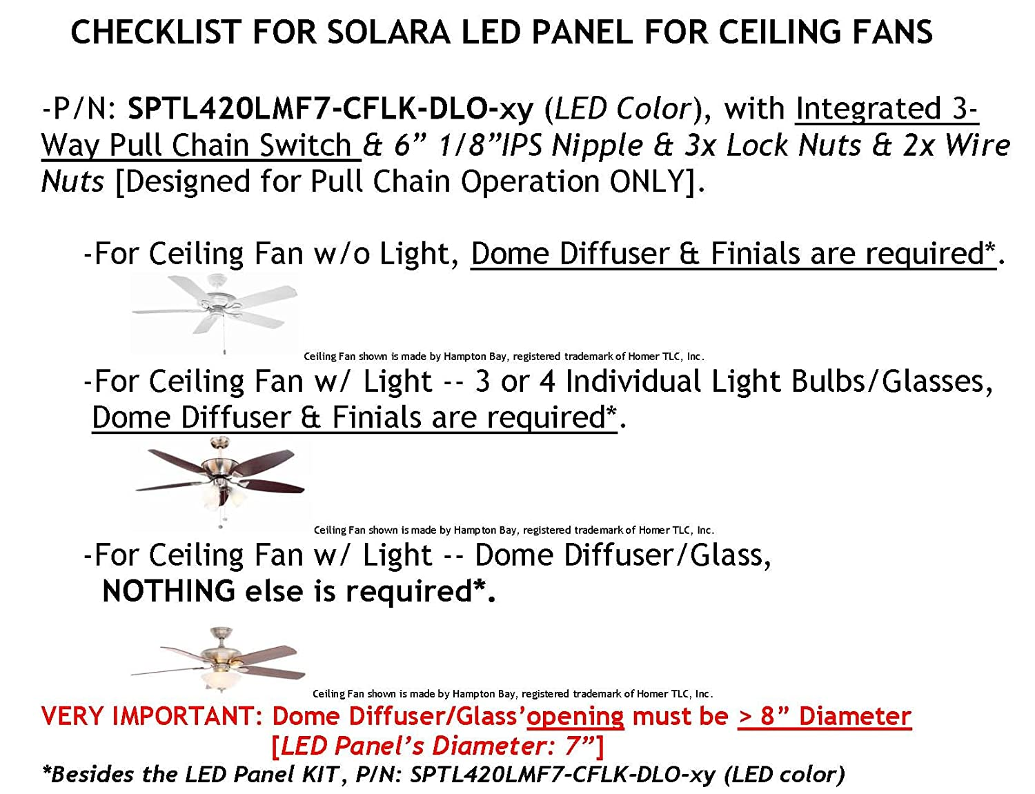 7 Dia Cool White 6000k Led Panel Kit For Ceiling Fan Light Wiring And On 3 Way Switches Double Outputs Pull Chain Switch Integrated P N Sptl420lmf7 Dlo Cflk Cw Amazon