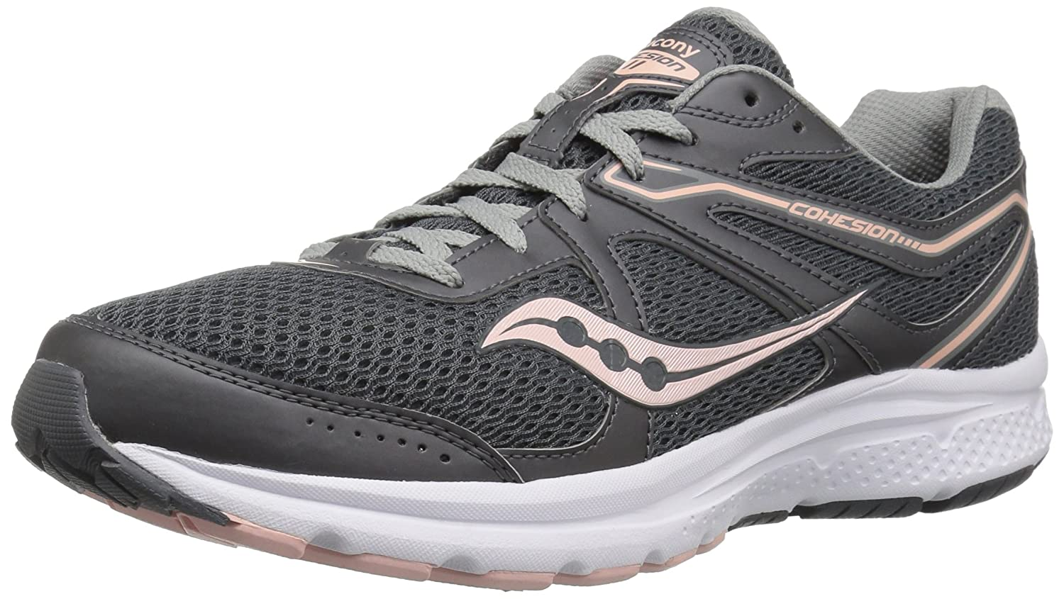 Charcoal Peach Saucony Womens Grid Cohesion 11 Running shoes