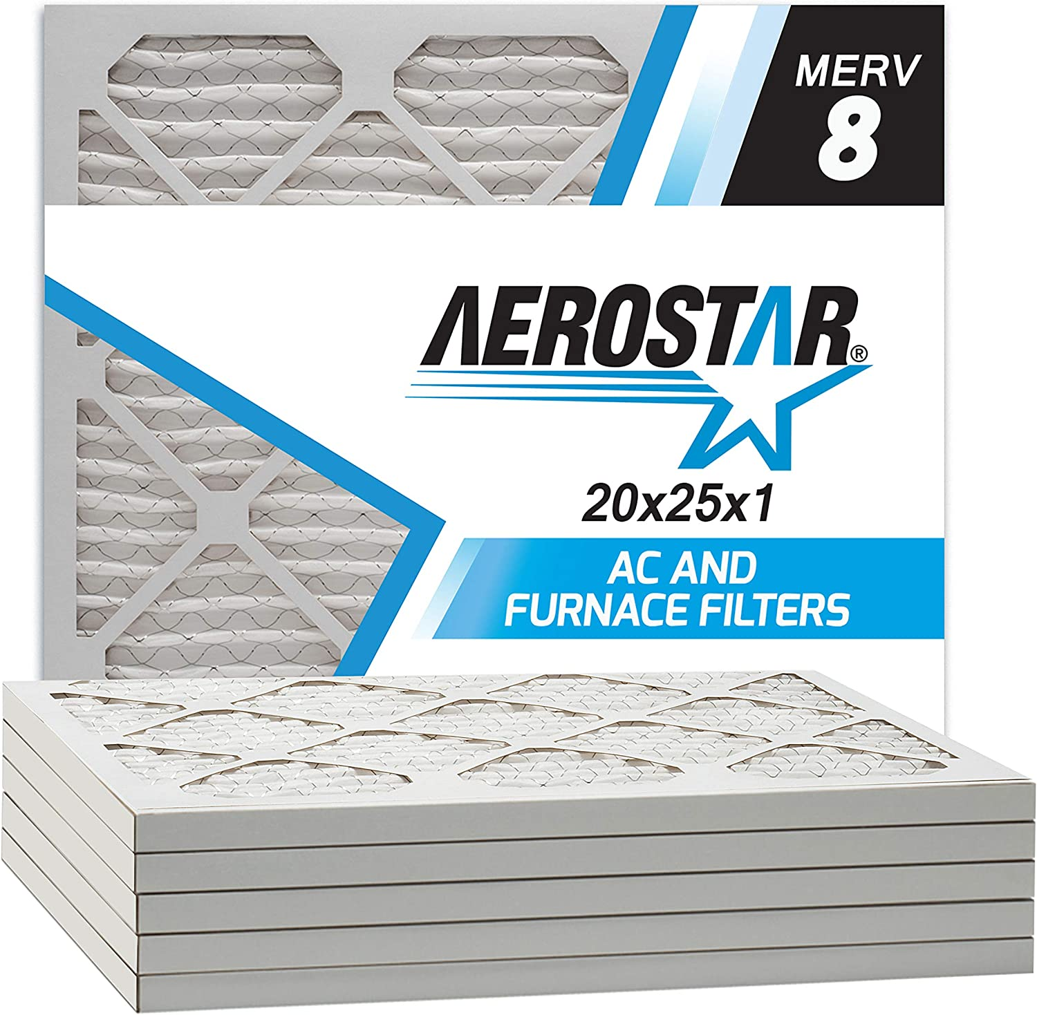 Aerostar 20x25x1 MERV 8 Pleated Air Filter, Made in the USA, 6-Pack