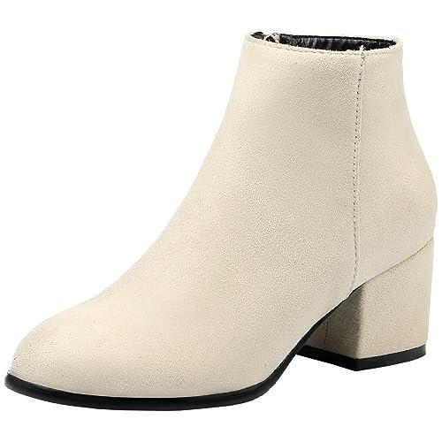 HooH Mujer Chelsea Botas Cremallera Franela Tacón de Gatito Chunky Botines: Amazon.es: Zapatos y complementos