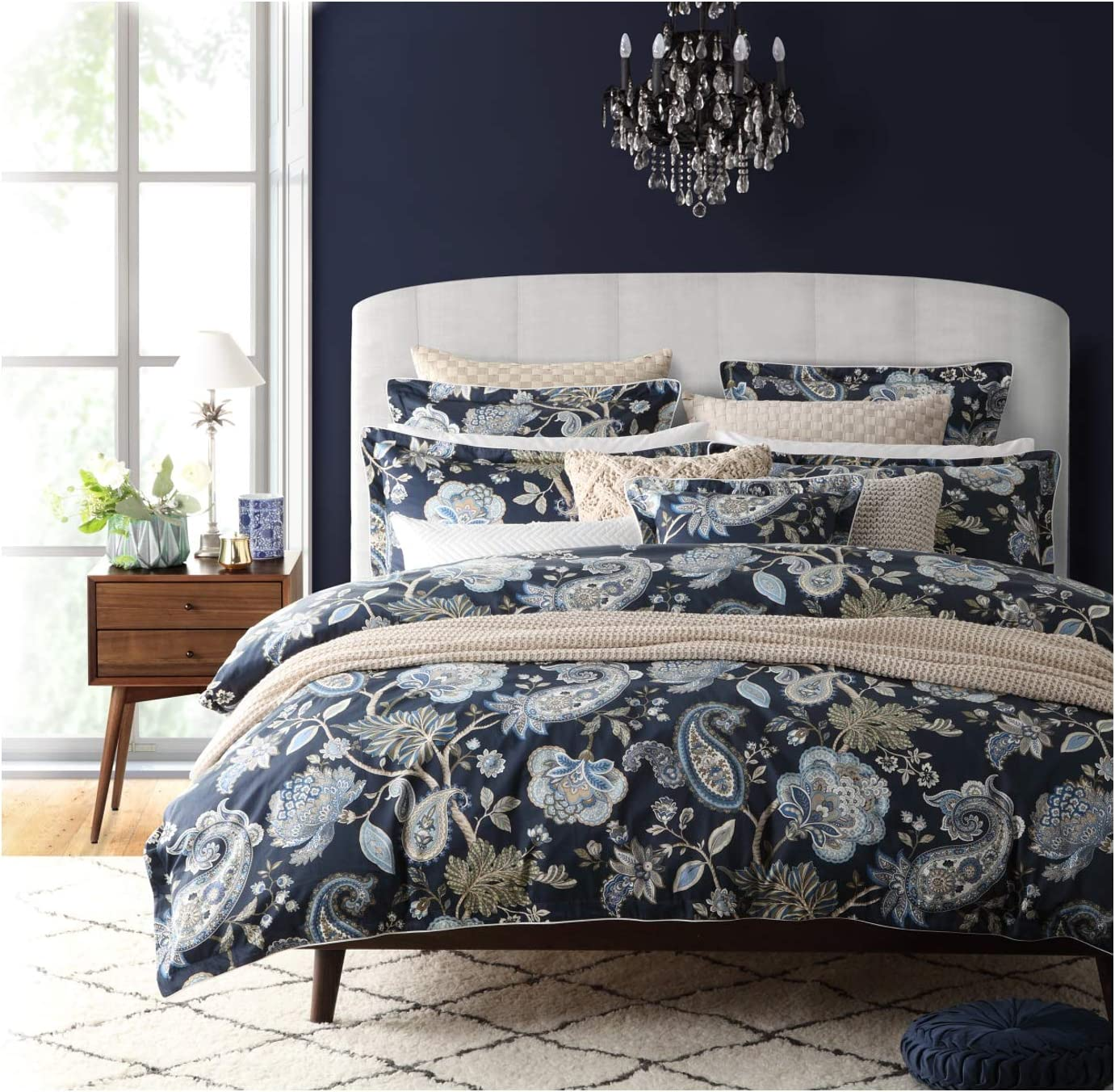 Nicole Miller Bedding 3 Piece Cotton Full / Queen Duvet Cover Set Jacobean Floral Paisley Vines Pattern in Shades of Blue, Brown and Beige on a Midnight Blue Background