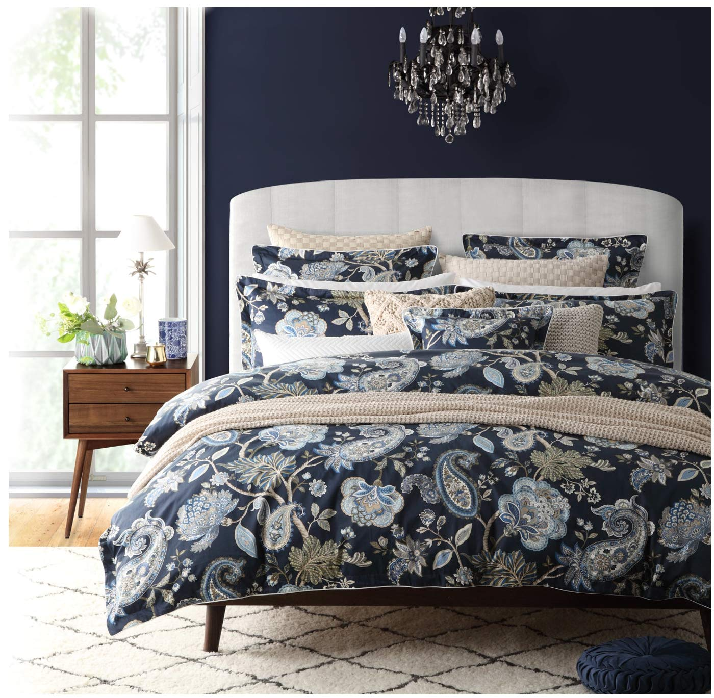 Nicole Miller Bedding 3 Piece Cotton Full / Queen Duvet Cover Set Jacobean Floral Paisley Vines Pattern