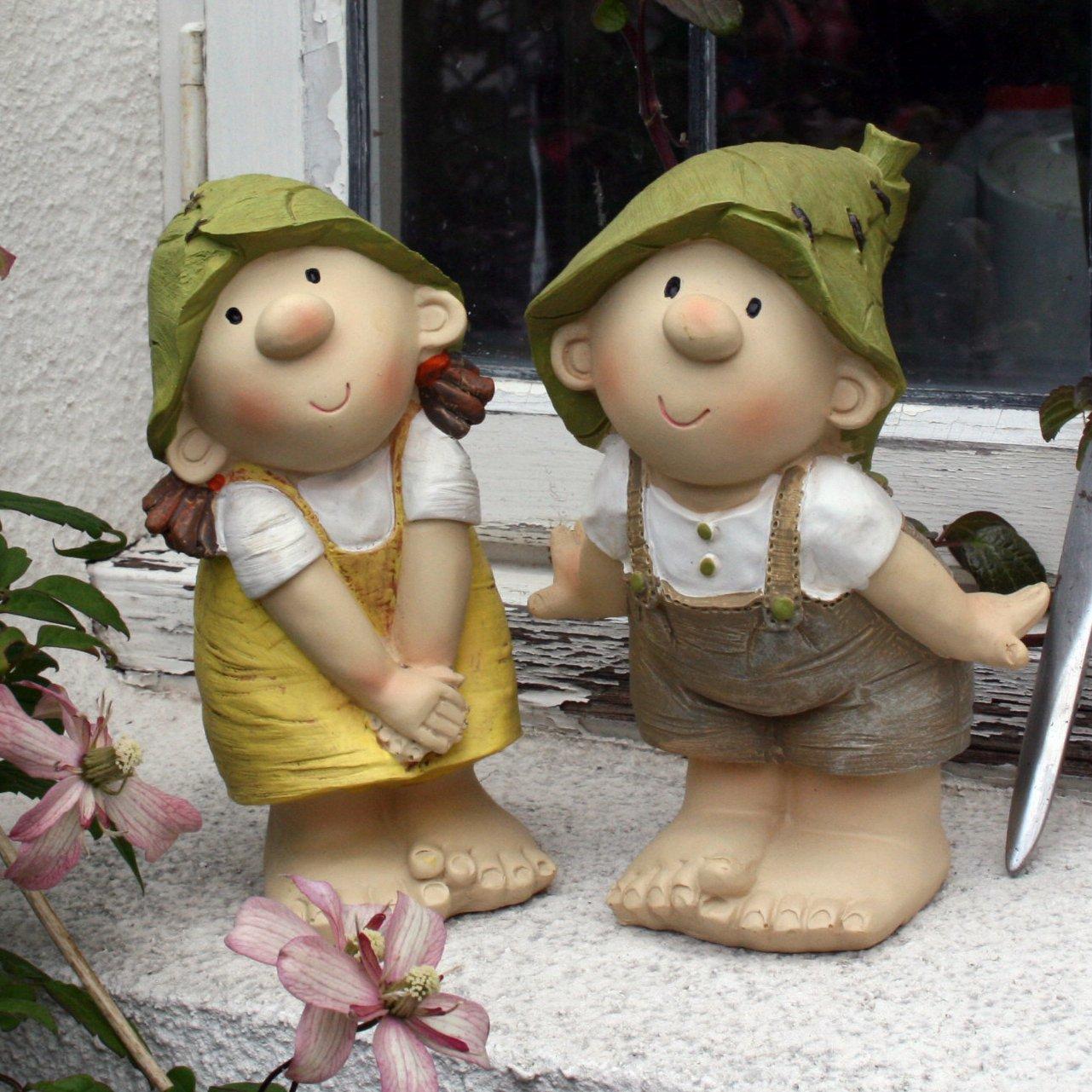 Lilly and Len Elves - Decorazione da giardino, gnomo, fata del giardino, troll Flame Homeware