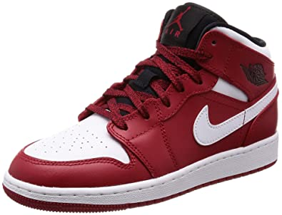 b4f66ac76f3 Amazon.com | Nike Jordan Youth 1 Mid Bg Leather Trainers | Basketball