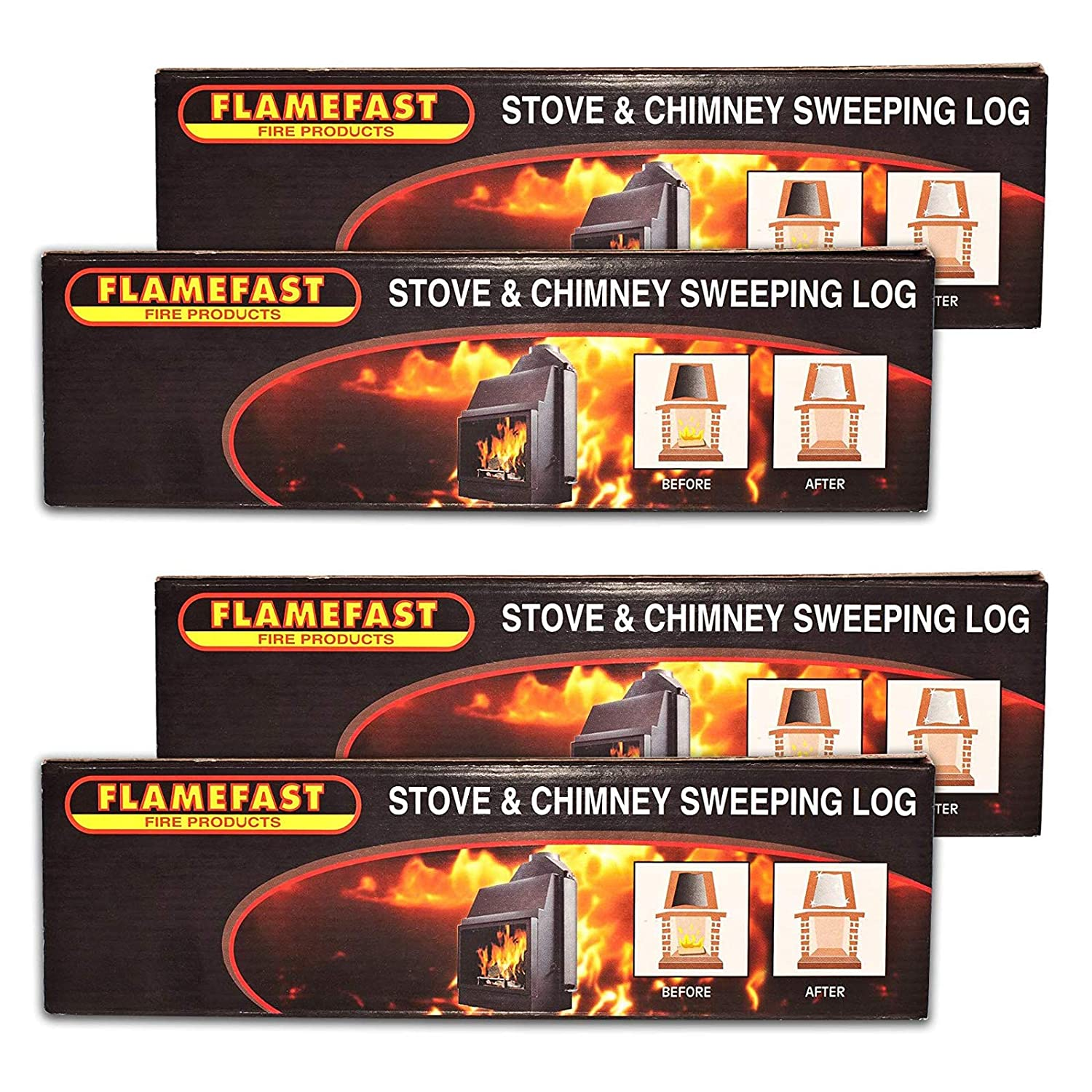 4 x Flamefast Stove & Chimney Sweeping Log Helps to Remove Creosote, Soot and Tar Deposits