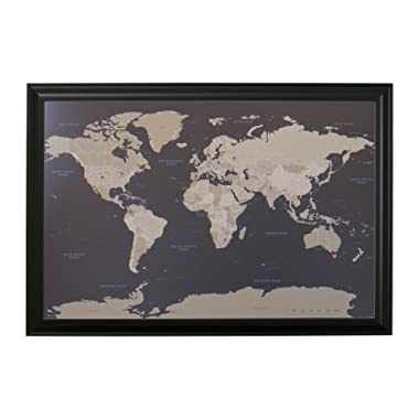 Push Pin Travel Maps Earth Toned World with Black Frame and Pins 24 x 36