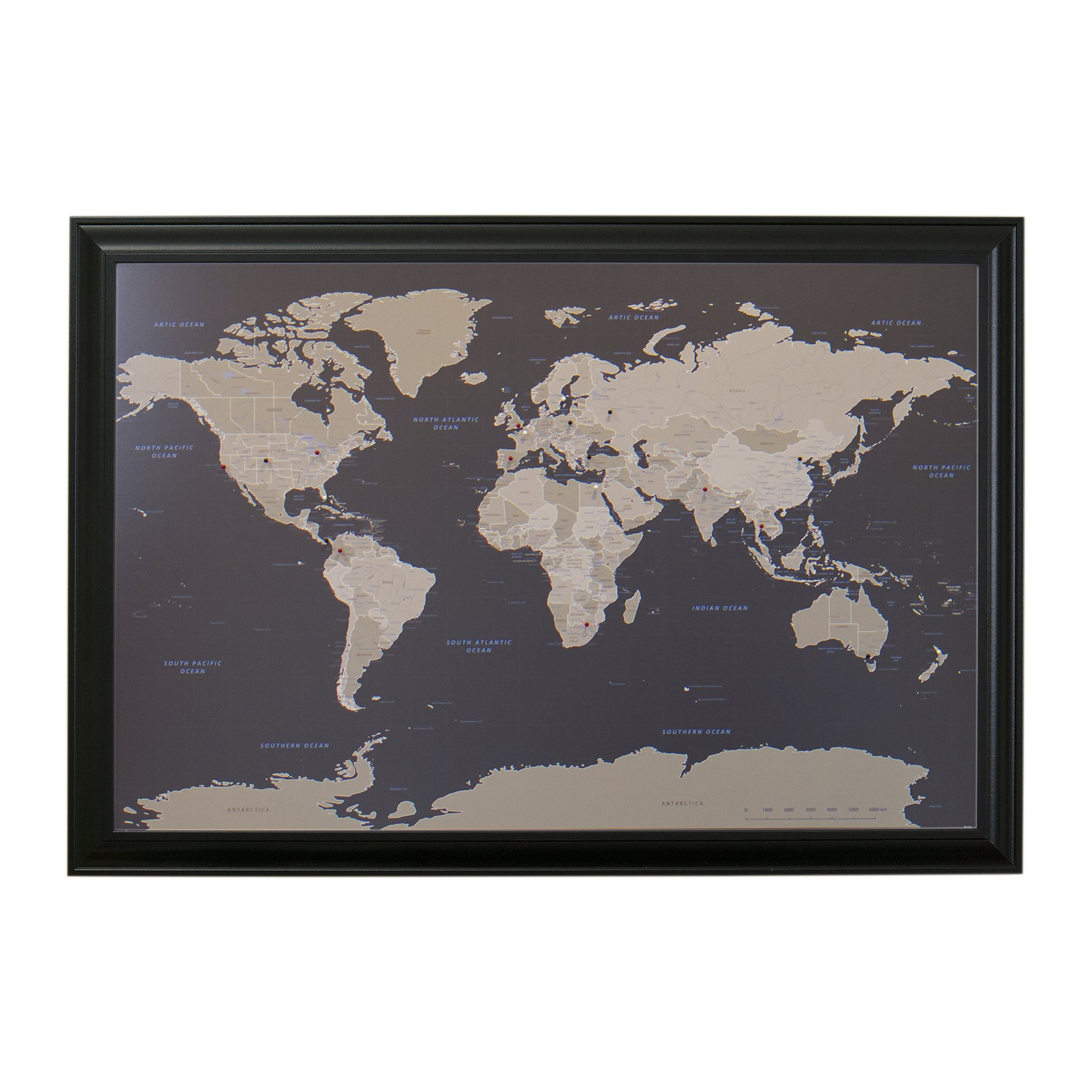 Earth Toned World Push Pin Travel Map with Black Frame and Pins 24 x 36