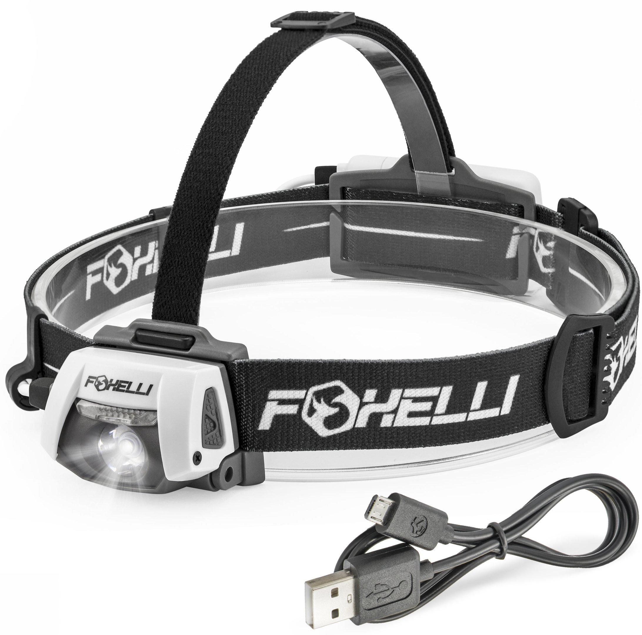 Foxelli USB Rechargeable Headlamp Flashlight – 280 Lumen, up to 100 Hours of Constant Light on a Single Charge, Ultra Bright, Waterproof, Impact Resistant, Lightweight & Comfortable Headlight