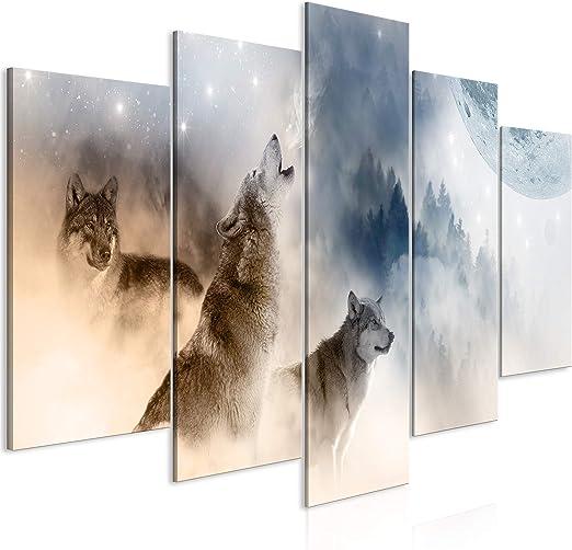 Moderne Wandbilder Kunstdruck Leinwand Bilder   Wolf