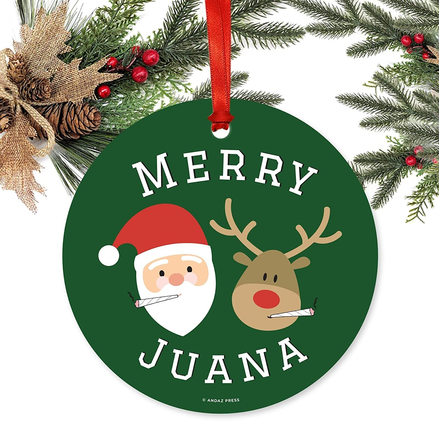 Christmas Weed.Andaz Press Marijuana Pot Cannabis Weed Round Metal Christmas Ornaments Merry Juana Reindeer Smoking Pot Cigarette Includes Ribbon And Gift Bag