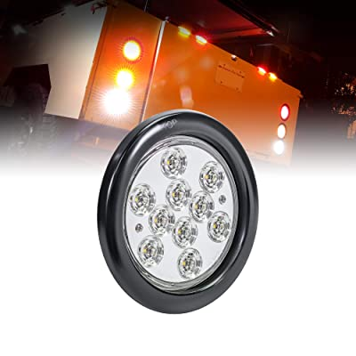 "4"" White Round LED Reverse Trailer Tail Light [DOT FMVSS 108] [SAE (2) R] [Grommet & Plug Included] [IP67 Waterproof] [Back Up Signal] Trailer Lights for Boat Trailer RV Trucks: Automotive"