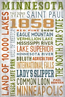 product image for Minnesota - Rustic Typography (16x24 Giclee Gallery Print, Wall Decor Travel Poster)
