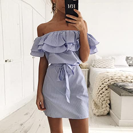 private-space-Aurelie Ruffles Straight Dresses Women Off The Shoulder Summer Office Lady Belt Shein Slash Neck Vestido Casual Above Knee 2018, Pink, ...
