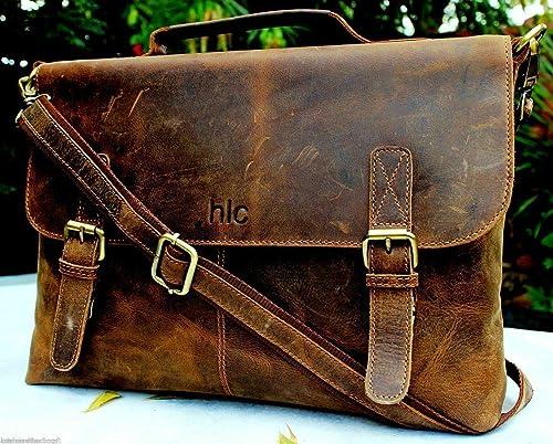 Men s Crazy Horse Leather Shoulder Messenger Briefcase, 15.5 Laptop Bag