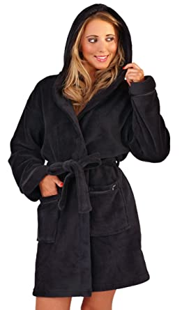 0a427f9256 Image Unavailable. Image not available for. Colour  New Style Womens Luxury  Corel Soft Snuggle Hooded Short Bath Robe Dressing Gown Housecoat with Belt