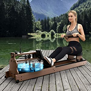 Bestier Rowing Machine for Home Use, American Ash Wood Water Resistance Rower with Bluetooth Monitor, Easy to Assemble and Convenient Storage Indoor Fitness Exercise Equipment