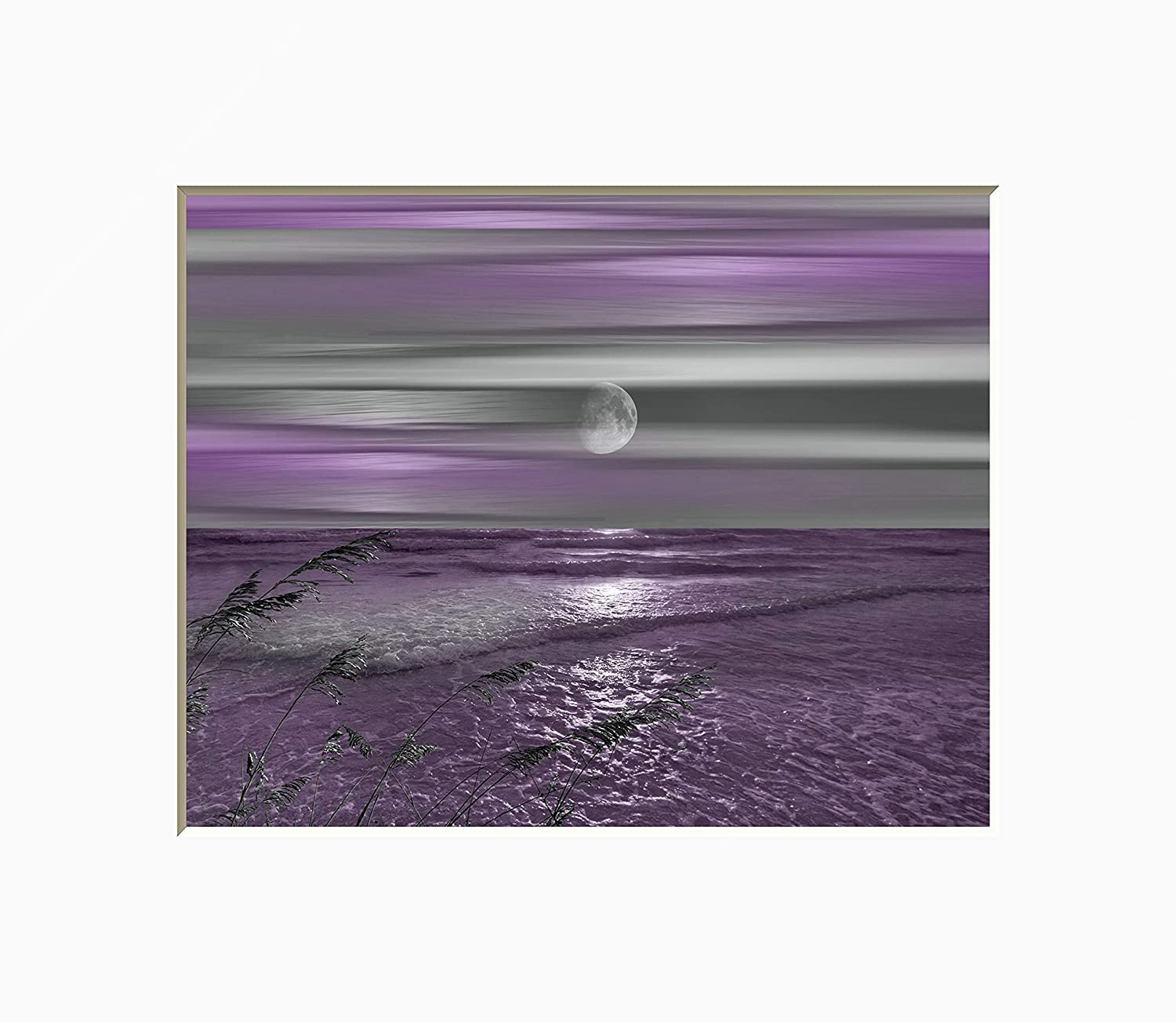 Purple Wall Decor, Coastal, Ocean Moon, Modern Bathroom, Bedroom Matted  Wall Art Picture (Size Options)