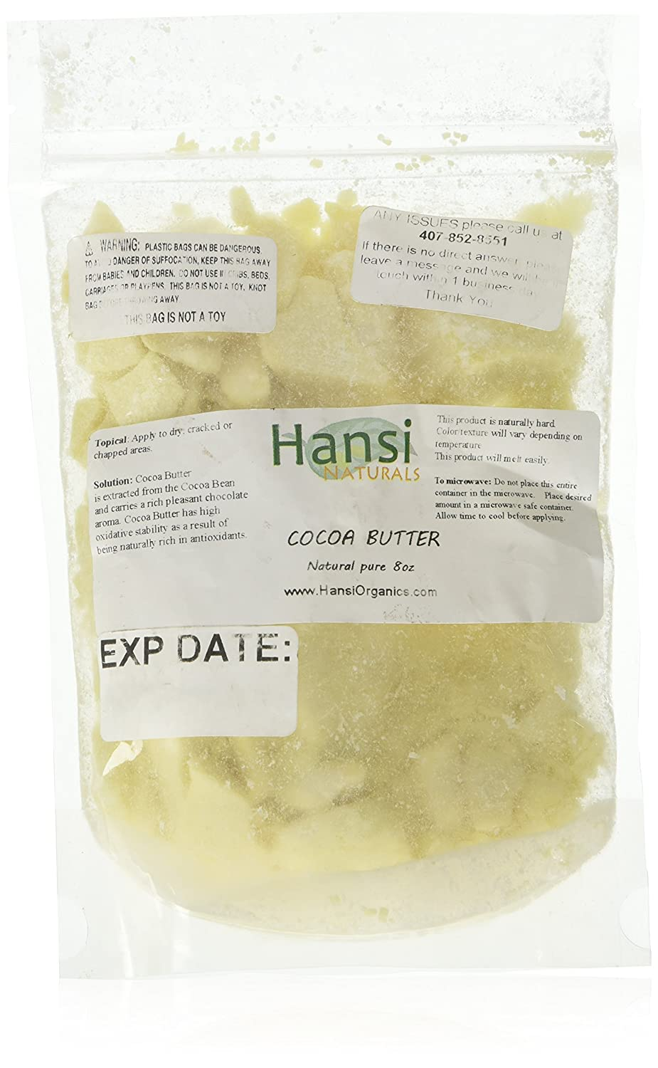 Raw Cocoa Butter 100% Pure 8oz ** SEALED BAG TO ENSURE FRESHNESS** by smellgood Hansi Naturals