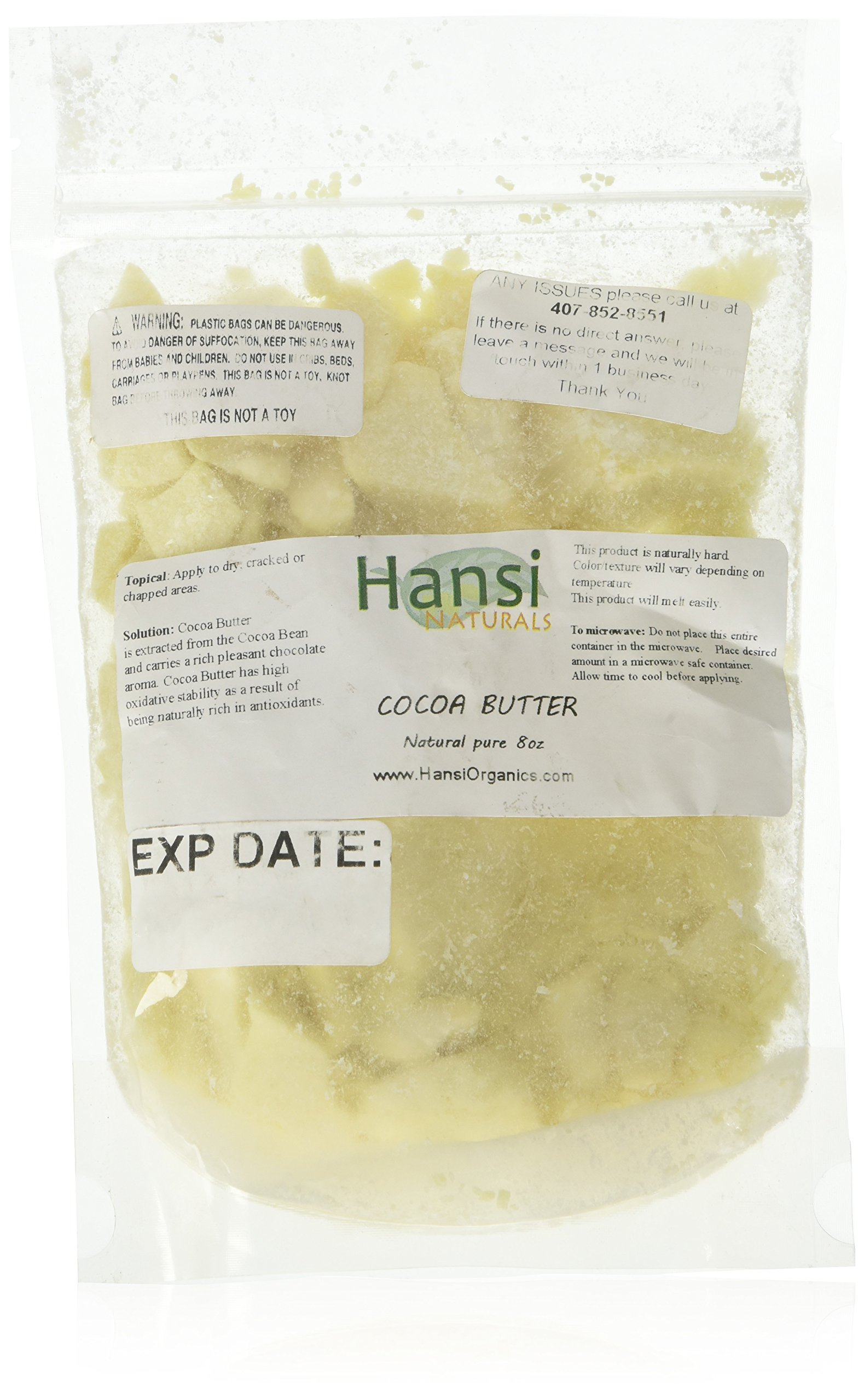 Raw Cocoa Butter 100% Pure 8oz ** SEALED BAG TO ENSURE FRESHNESS** by smellgood