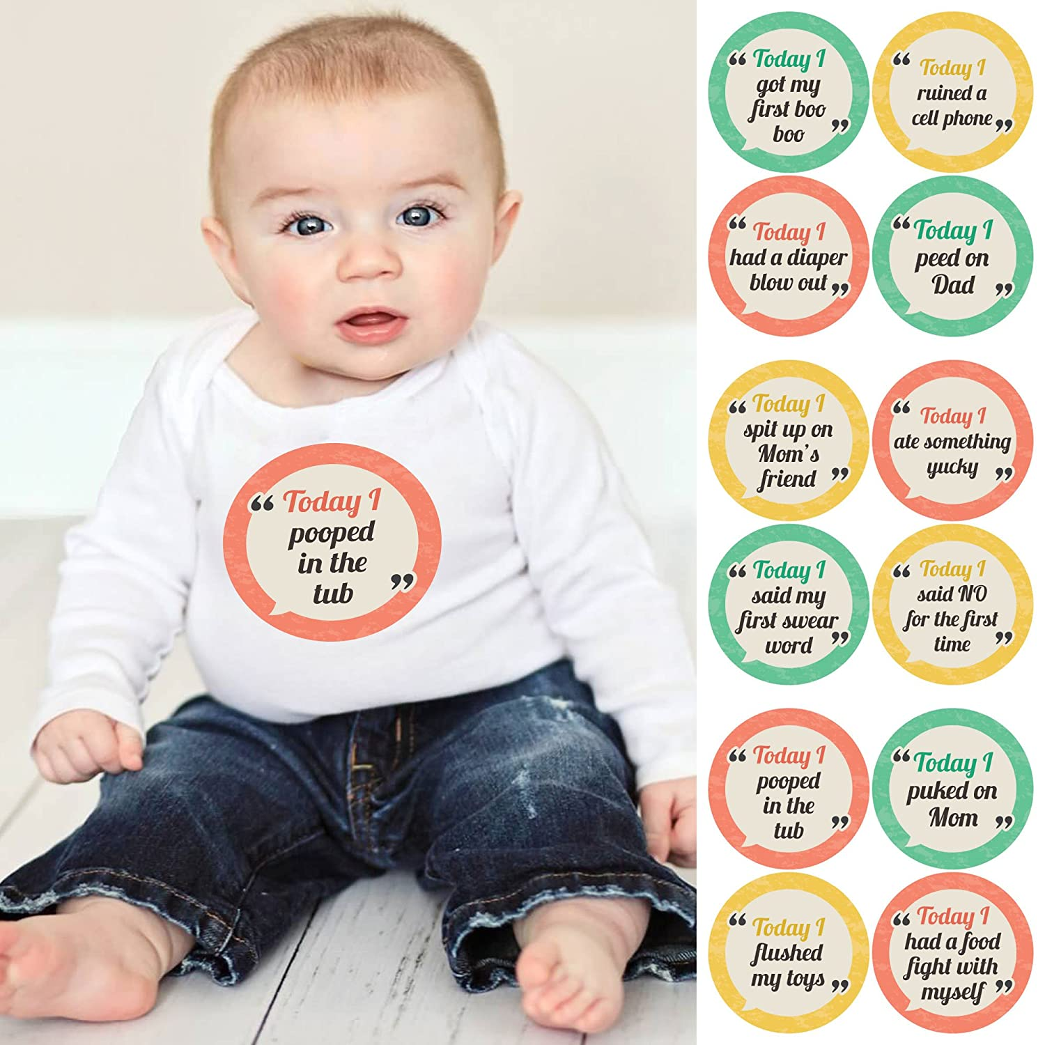 Amazon Funny Baby s First Milestone Sticker Set Baby Shower