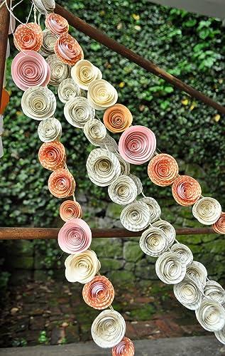 Amazon 4 paper flower garlands orange and pink party garland 4 paper flower garlands orange and pink party garland wedding garland mightylinksfo