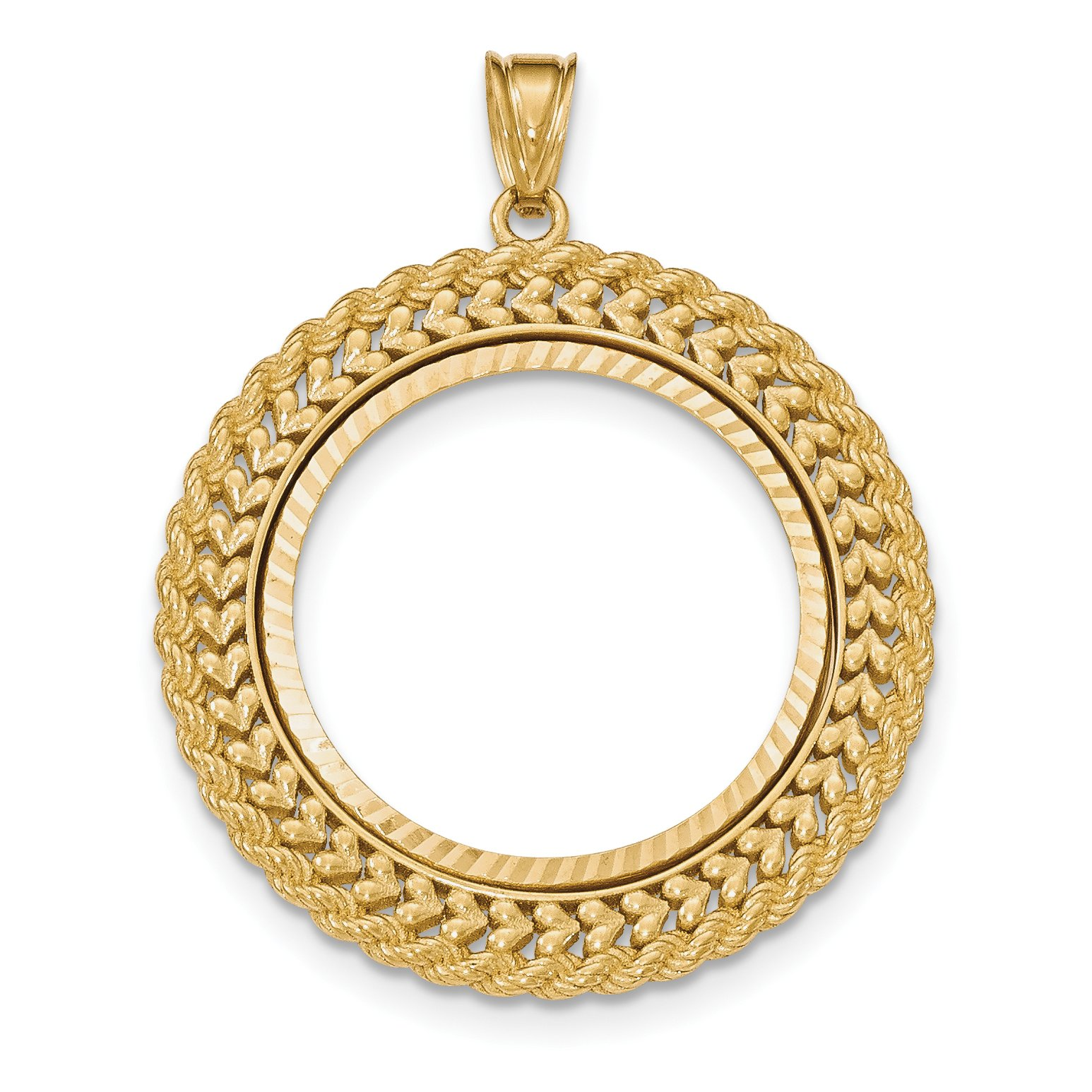 14k Yellow Gold Double Row D/C 1/2 oz American Eagle Coin Bezel 27 mm x 2.2 mm