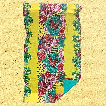 Burrito Blanco Pareo para playa/Toalla pareo Hawaiano 183 Algodón 100% con Reverso de